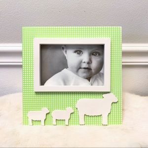 Gingham green & white picture frame w/ lambs baby